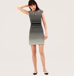 Petite Variegated Stripe Cap Sleeve Dress   Loft