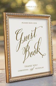 Custom Printable Guest Book Sign Wedding Reception Sign
