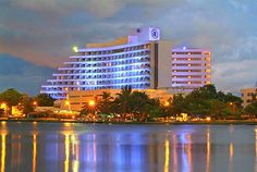 A view from El Laguito Bay to Cartagena Hilton Hotel, Colombia