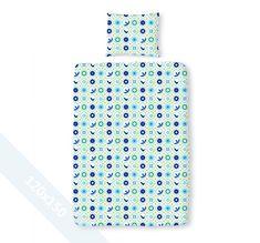 Duimelot dekbedovertrek 'Laila' Blauw. Een junior (120x150 cm) dekbedovertrek van 100% zacht katoen met als basis een witte achtergrond, met daarop allemaal ronde stempels met verschillende afbeeldingen in groen en blauwtinten.