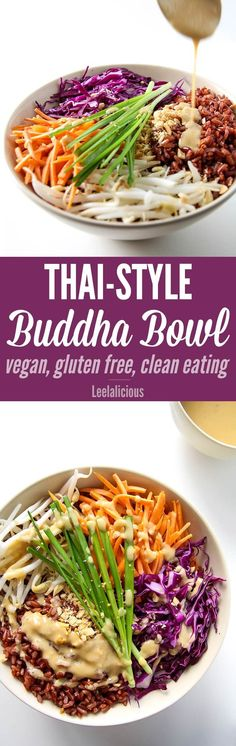 Style Buddha Bowl with Peanut Sauce - this healthy recipe with brown rice is gluten free, vegan and clean eating.Thai Style Buddha Bowl with Peanut Sauce - this healthy recipe with brown rice is gluten free, vegan and clean eating. Whole Food Recipes, Dinner Recipes, Cooking Recipes, Water Recipes, Cocktail Recipes, Carb Cycling Diet, Japanese Diet, Japanese Matcha, Clean Eating