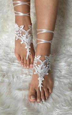 Sandalias pies descalzos de encaje marfil por LaceBarefootSandals