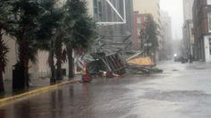 New Orleans, La. – Strong winds brought scaffolding down in front of the Westin Hotel on 100 Rue Iberville in New Orleans, La., on Wednesday Aug. 29, 2012. On the seventh anniversary of Hurricane Katrina, Hurricane Isaac shows no mercy, dumping wind, rain and surge on Louisiana.