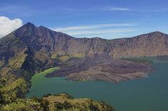 Mount Rinjani, Lombok, Indonesia  A couple of days of tough climbing is well-rewarded at the summit of Mount Rinjani, the second highest active volcano in Indonesia, with this spectacular view. A crater lake, affectionately known as 'Child of the Sea' by locals, sits pretty at the top of this epic climb.