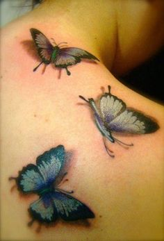 Amazing 3d butterflies tattoo on back