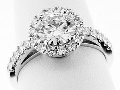 Carat GIA Round Brilliant - Platinum HALO Engagement Ring from N. Reiff Company in Philadelphia, Pennsylvania. Round Halo Engagement Rings, Sapphire Diamond, Rose Gold, Bling, Stone, Glitters, Jewelry, Jewlery, Jewels