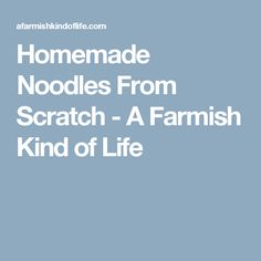 Homemade Noodles From Scratch - A Farmish Kind of Life