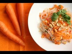 Thai Carrot Noodle Salad Recipe. Naturally Gluten Free and a delicious way to use your summer carrots.