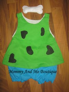 green and blue flintstone pebbles costume by
