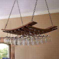 Vintage oak hanging wine glass rack, wife force suck
