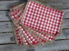 Handmade Laura Ashley Scarlet Gingham Hessian Shabby Chic Place mats Set of 6 £21.95