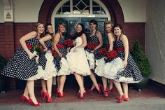 1950s indoor wedding reception ideas   1950 s american gangster meets black white and red polka dots add a ...