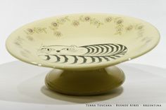 Pieza única - Fuente con pie para masitas Johnson Brothers (England) - Línea Victorian - 22 cm de diámetro Calcos cerámicos con diseño de TERRA TOSCANA. Toscana, Antigua