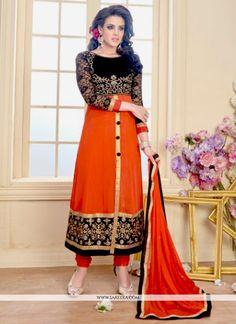 Jazzy Orange Zari Work Georgette Anarkali Salwar Suit Indian Salwar Kameez 7f30f6167