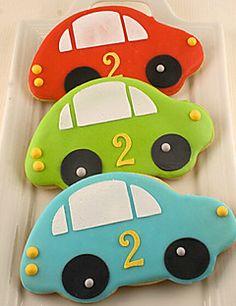 Car Cookies- 12 Decorated Sugar Cookie Favors By Truly Scrumptious Cookies Car Cookies, Cookie Favors, 2nd Birthday Parties, Boy Birthday, Rodjendanske Torte, Transportation Birthday, Birthday Cookies, Valentine Cookies, Easter Cookies