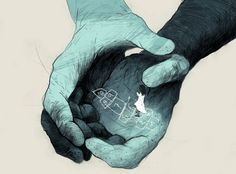 Por trás das linhas azuis está Simón Prades, ilustrador de família alemão-espanhola que vive em Saarbrücken, Alemanha.
