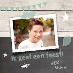 lovz.nl Hippe uitnodiging verjaardagsfeestje - jongen- krijtbord - uitnodigingen voor je kinderfeest - zelf maken