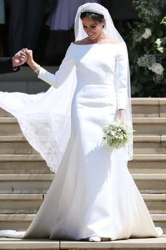 Meghan Markle wore a custom Givenchy wedding gown when she wed Prince Harry May 2018 - The Most Beautiful Royal Wedding Dresses - What Real-Life Princesses Wore for Their Weddings - Photos (Source: WPA Pool/Getty Images Europe) Boat Neck Wedding Dress, Second Wedding Dresses, Celebrity Wedding Dresses, Wedding Dress Sleeves, Designer Wedding Dresses, Celebrity Weddings, Famous Wedding Dresses, Second Weddings, Megan Markle Wedding Dress