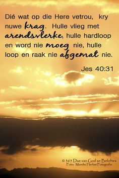 Dag 22 Bybelvers: Jesaja Dié wat op die Here vetrou, kry nuwe krag. Favorite Bible Verses, Bible Verses Quotes, Jesus Quotes, Live Life Love, Messages For Friends, Afrikaanse Quotes, Inspirational Qoutes, Quality Quotes, Bible Study Journal