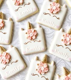 Personalized Unicorn cookies for Emily! Gold is Sunflower Gold from @howsweetisthat. Cutter from @treelittletree #unicorncookies…