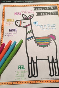 Grounding exercises ease anxiety and calm students who suffer from panic attacks. This Llama is a fun way to teach this skill. Anxiety And Anger, Anxiety In Children, Anxiety Help, Anxiety Relief, Stress Relief, Elementary School Counselor, School Counselor