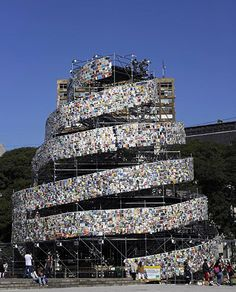The 30,000 books which make up the seven stories of the Tower of Babel have been donated by readers, libraries and more than 50 embassies