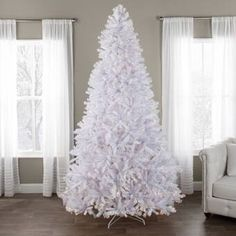 The Holiday Aisle® North Valley White Spruce Artificial Christmas Tree with Clear/White Lights & Reviews | Wayfair White Artificial Christmas Tree, Christmas Tree Trimming, Christmas Tree Sale, White Christmas Trees, Holiday Tree, Pink Christmas, Xmas Tree, Beautiful Christmas, Christmas Themes