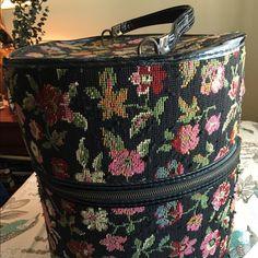 Vintage tapestry hat box Zipper closure, flowers, 13x13 Accessories Hats