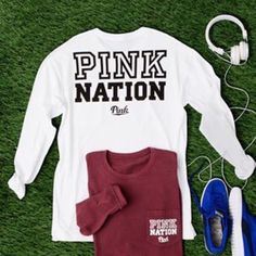 HP  VS PINK White Limited Edition Campus Tee New with tags. Oversized PINK Victoria's Secret Tops Tees - Long Sleeve