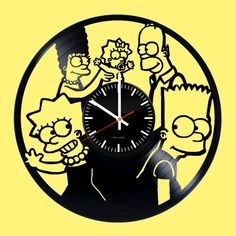 The Simpsons Handmade Vinyl Record Wall Clock Great Idea Vinyl Record Crafts, Vinyl Record Clock, Old Vinyl Records, Record Wall, Vinyl Art, Wall Clock With Pictures, Wall Clock Painting, Wood Burning Stencils, How To Make Wall Clock