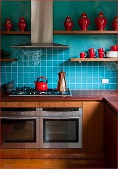 Turquoise goes great with hues of orange, rose and terra cotta. I myself blended a turquoise kitchen with a spicy grapefruit (an orange rose color). It has a very Mediterranean feel :O)