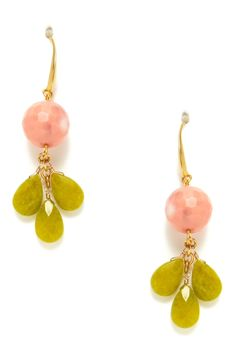 Jade+Agate floral Earings