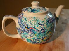 Hand painted Teapot: Custom Ceramic Teapot with unique Drawing, Drawing Love Studio