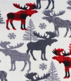 Anti-Pill Fleece Fabric - Patterned Moose