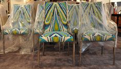 I love the print on these chairs.  Blue and green are my favorite colors.