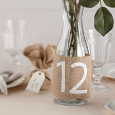 Vintage Affair Hessian Table Numbers