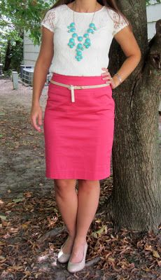 white lace tee, turquoise bubble necklace, coral skirt