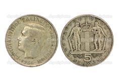 Old Greek 5 drachmas coin from 1966 (two sides), shows King Constantine II. Cholo Art, Old Greek, Greece Photography, Greek History, Gold And Silver Coins, Show Me The Money, Thessaloniki, Athens Greece, Rare Coins