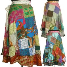 10 Vintage Silk Sari Patchwork Magic wrap skirts dress beach wear SW-2 #MadeinIndia #Wrapdress