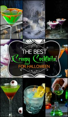 Don't throw a Halloween bash without delicious and boozy filled creepy cocktails that were made for Halloween and things spooky. Easy Halloween Cocktails, Halloween Food For Party, Holiday Drinks, Cute Halloween, Party Drinks, Holidays Halloween, Cocktail Drinks, Halloween Treats, Alcoholic Drinks