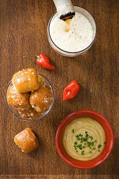 Ham and Cheddar Pretzel Bites with Honey Jalapeno Mustard