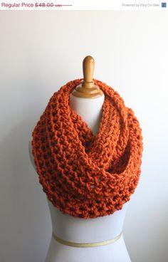 CIJ+SALE+Pumpkin+Scarf%2C+Snood%2C+Knit+Scarf%2C+Orange+Infinity+Scarf
