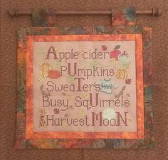 AUTUMN THINGS; Instant Pdf Pattern for Cross Stitch; Autumn Leaves, Apple Cider, Pumpkins; Squireels & Harvest Moon by WaxingMoonDesigns on Etsy