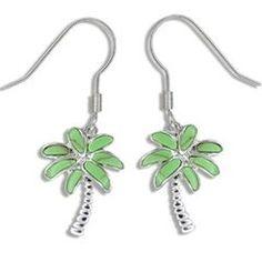 Sterling Silver Hawaiian Green Turquoise Palm Tree Earrings M