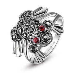 Ruby eyes Frog Ring sz 6 7 8 9 size 18K White Gold GP Swarovski crystal R517