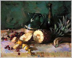 "sergei bongart paintings | Still Life with Pineapple"""