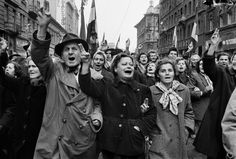 """The Hungarian Revolution, Budapest, """"Armed insurrection started in the streets on October until the Soviet troops occupied Budapest on the November 1956 and crushed the movement. The uprising brought a death toll of over people."""" Photo by Erich Lessing. Chat Sites, Thing 1, Magnum Photos, My Heritage, Lany, Women In History, Life Magazine, Revolutionaries, Back In The Day"""
