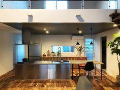 今日も一日楽しく過ごせました😊💕 まだガランとしているロフトに緑をたくさん増やしたい🌿 #新築 #マイホーム #マイホーム記録 #リビング #吹き抜け #吹き抜けリビング #ロフト #アイランドキッチン #ステンレスキッチン #グラッド45 - @2452risa Interior, Kitchen, Table, House, Furniture, Home Decor, Cooking, Decoration Home, Indoor