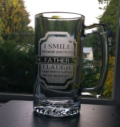 Hey, I found this really awesome Etsy listing at https://www.etsy.com/listing/356642145/fathers-day-beer-mug-etched-i-smile