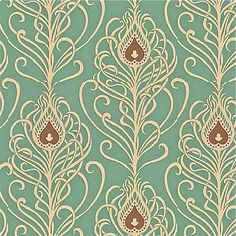 paisley peacock wallpaper: Greta Jade from Villa Nova. I LOVE this, it is so art deco yet fun and colorful but not too colorful. Duck Egg Blue Wallpaper, Blue Roses Wallpaper, Peacock Wallpaper, New Wallpaper, Paisley Wallpaper, Cream Wallpaper, Bedroom Wallpaper, Fabric Wallpaper, Pattern Wallpaper